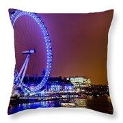 London Eye Night Glow Throw Pillow