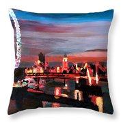 London Eye Night Throw Pillow