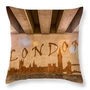 London Graffiti Skyline Throw Pillow