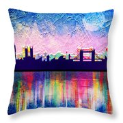 London In Blue  Throw Pillow