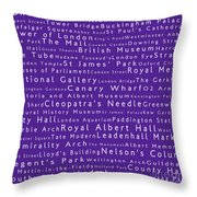 London In Words Purple Throw Pillow