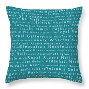 London In Words Teal Throw Pillow
