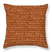 London In Words Toffee Throw Pillow