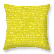 London In Words Yellow Throw Pillow