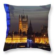 London Night Skyline Cityscape Throw Pillow