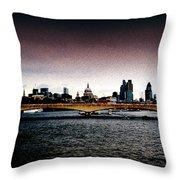 London Over The Waterloo Bridge Throw Pillow