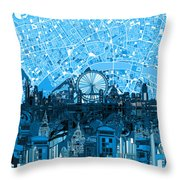 London Skyline Abstract Blue Throw Pillow