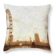 London Skyline At Dusk 01 Throw Pillow