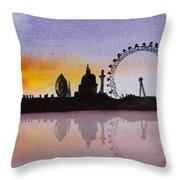 London Skyline At Sunset Throw Pillow
