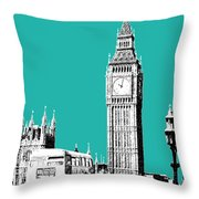 London Skyline Big Ben - Teal Throw Pillow