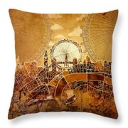 London Skyline Old Vintage  Throw Pillow