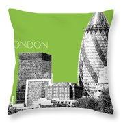 London Skyline The Gherkin Building - Olive Throw Pillow