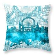 London Skyline Vintage Blue 2 Throw Pillow