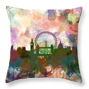 London Skyline Watercolor Throw Pillow