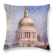 London St Pauls Fog 02 Throw Pillow