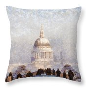 London St Pauls In The Fog Throw Pillow by Pixel  Chimp