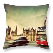 London The Uk Red Bus Taxi Cab In Motion And Big Ben Throw Pillow
