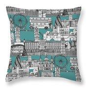 London Toile Blue Throw Pillow
