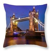 London - Tower Bridge During Blue Hour Throw Pillow