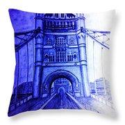 London Tower Bridge Tinted Blue Throw Pillow