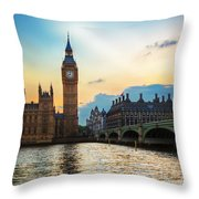 London Uk Big Ben The Palace Of Westminster At Sunset Throw Pillow