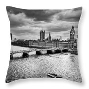 London Uk Big Ben The Palace Of Westminster In Black And White Throw Pillow