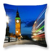 London Uk Red Bus In Motion And Big Ben At Night Throw Pillow