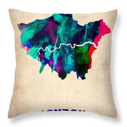 London Watercolor Map 2 Throw Pillow by Naxart Studio