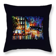 Londons Lights - Palette Knife Oil Painting On Canvas By Leonid Afremov Throw Pillow