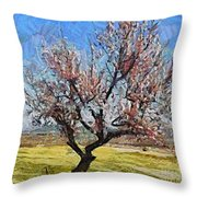 Lone Almond Tree In Bloom Throw Pillow