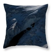 Lone Alpinist Silhouetted On Heavily Throw Pillow