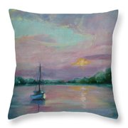 Lone Boat At Sunset Throw Pillow