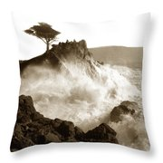 Lone Cypress Tree On  Midway Point Pebble Beach California Circa 1916 Throw Pillow