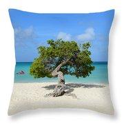 Lone Divi Tree In Aruba Throw Pillow