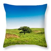 Lone Green Tree Throw Pillow