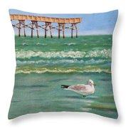 Lone Gull A-piers Throw Pillow