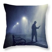 Lone Gunman In Fog At Night Throw Pillow
