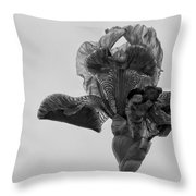 Lone Iris Black And White Throw Pillow