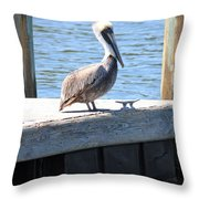 Lone Pelican On Pier Throw Pillow