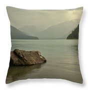 Lone Rock In Cheakamus Lake Throw Pillow