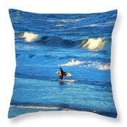Lone Surfer 1 Throw Pillow