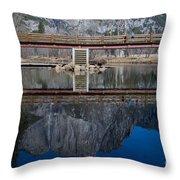 Lone Tourist And  Yosemite Falls Reflection Throw Pillow