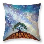 Lone Tree And Milky Way Throw Pillow