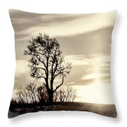 Lone Tree At Dusk Throw Pillow