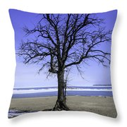 Lone Tree At Fort Gratiot Light House  Throw Pillow