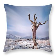 Lone Tree In The Snow Throw Pillow