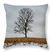 Lone Tree In Winter Throw Pillow