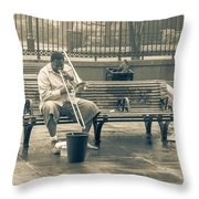 Lone Trombone Player Throw Pillow