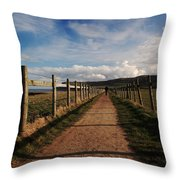 Lone Walker On The North Yorkshire Coastal Path Throw Pillow