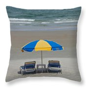 Lonely Beach Chairs Throw Pillow